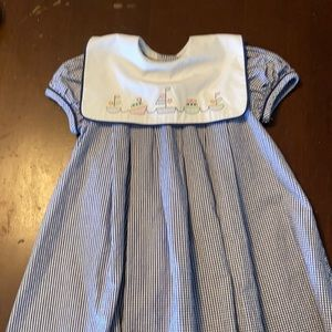 Blue Gingham Dress with embroidered sailor collar